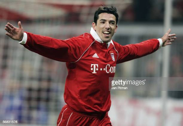 Roy Makaay of FC Bayern Munich celebrates after he scored 1-0 during the Bundesliga match between FC Bayern Munich and 1. FC Nuremberg at the Allianz...