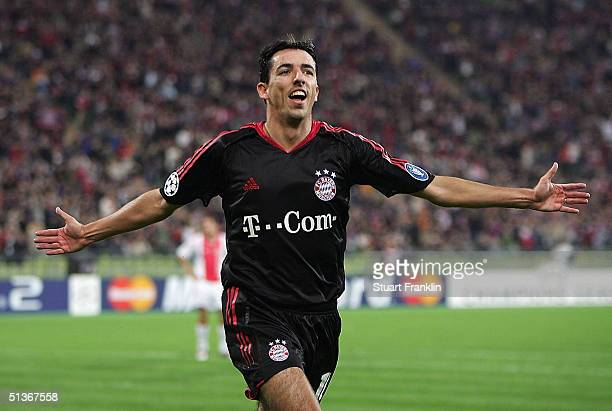 Roy Makaay of Munich celebrates scoring his first goal during The UEFA Champions League match between Bayern Munich and AFC Ajax at The Olympic...
