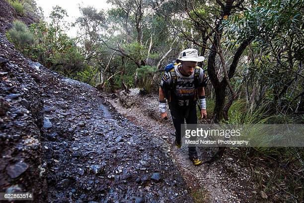 Roy Malone from Team Bones from USA hiking up to 'The Castle' in Morton National Park during the Adventure Race World Championship on November 11...