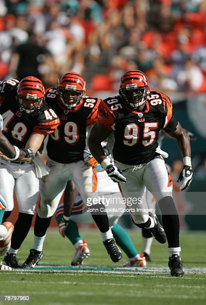 Roy Manning of the Cincinnati Bengals during the NFL game against the Miami Dolphins at Dolphin Stadium on December 30 2007 in Miami Florida
