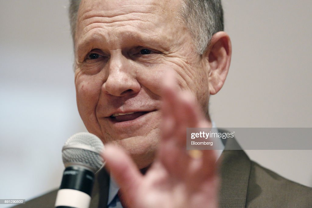 Roy Moore, a Republican from Alabama, speaks during an election night party in Montgomery, Alabama, U.S., on Tuesday, Dec. 12, 2017. The defeat of Moore in Alabamas U.S. Senate race by Democrat Doug Jones was a stunning rebuke to the GOPs anti-establishment wing led by Steve Bannon and a major political embarrassment for President Donald Trump. Photographer: Luke Sharrett/Bloomberg via Getty Images