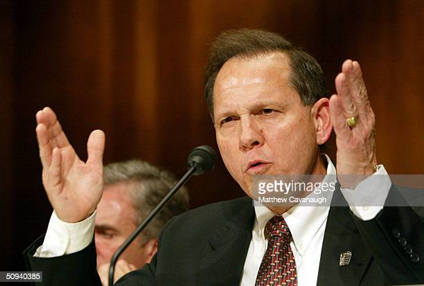 Roy Moore former Chief Justice of The Alabama Supreme Court testifies at a Senate Constitution Civil Rights and Property Rights Subcommittee hearing...