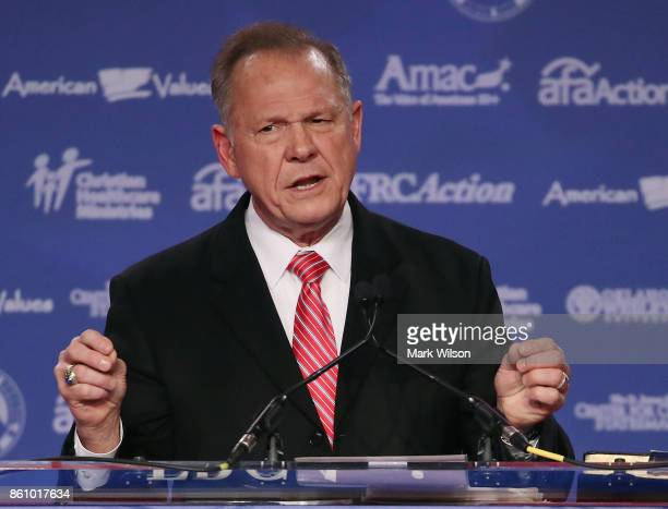 Roy Moore GOP Senate candidate and former chief justice on the Alabama Supreme Court speaks during the annual Family Research Council's Values Voter...