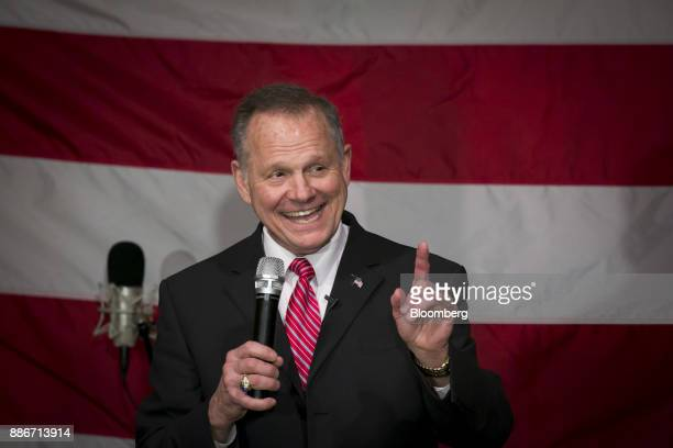 Roy Moore Republican candidate for US Senate from Alabama smiles as he speaks during a campaign rally in Fairhope Alabama US on Tuesday Dec 5 2017...