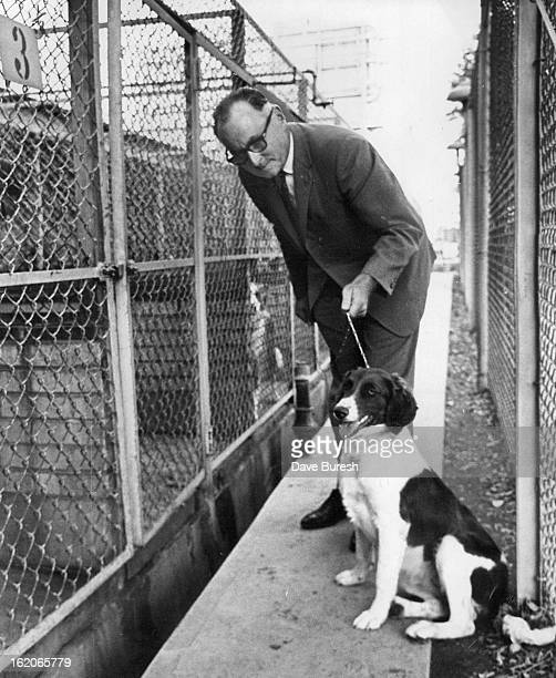SEP 12 1966 SEP 14 1966 SEP 18 1966 Roy N Severinsen president of Dumb Friend League talks with 'Kiko' an English springer spaniel mix Support of...
