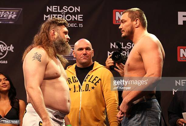 Roy Nelson and Matt Mitrione face off while UFC President Dana White looks on during TUF 16 Finale weigh in on December 14 2012 at the Joint at the...