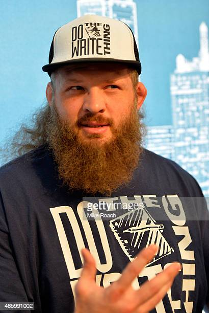 Roy Nelson interacts with media during the UFC 185 Ultimate Media Day at the American Airlines Center on March 12 2015 in Dallas Texas