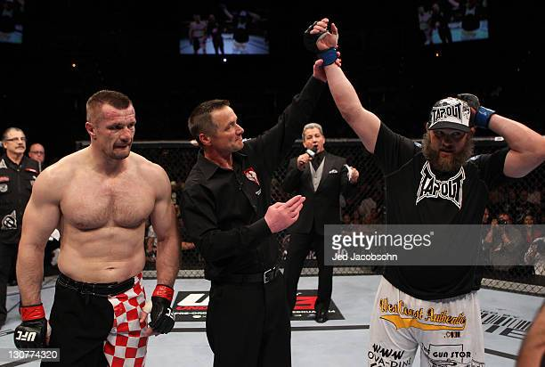 Roy Nelson reacts after defeating Mirko Cro Cop by TKO during the UFC 137 event at the Mandalay Bay Events Center on October 29 2011 in Las Vegas...