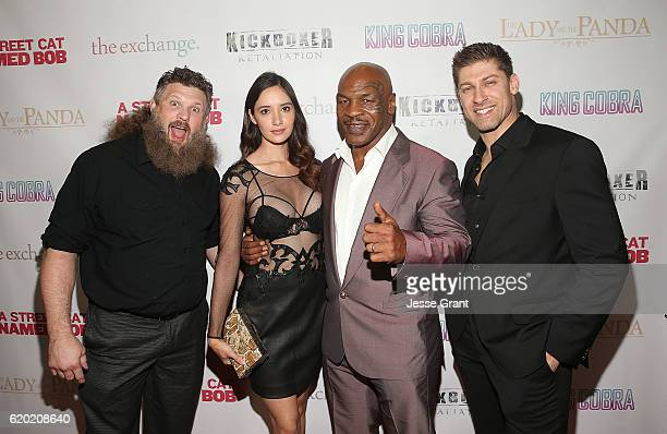 Roy Nelson Sara Malakul Lane Mike Tyson and Alain Moussi attend AFM'16 The Exchange's 5 Year Anniversary Celebration on November 1 2016 in Santa...