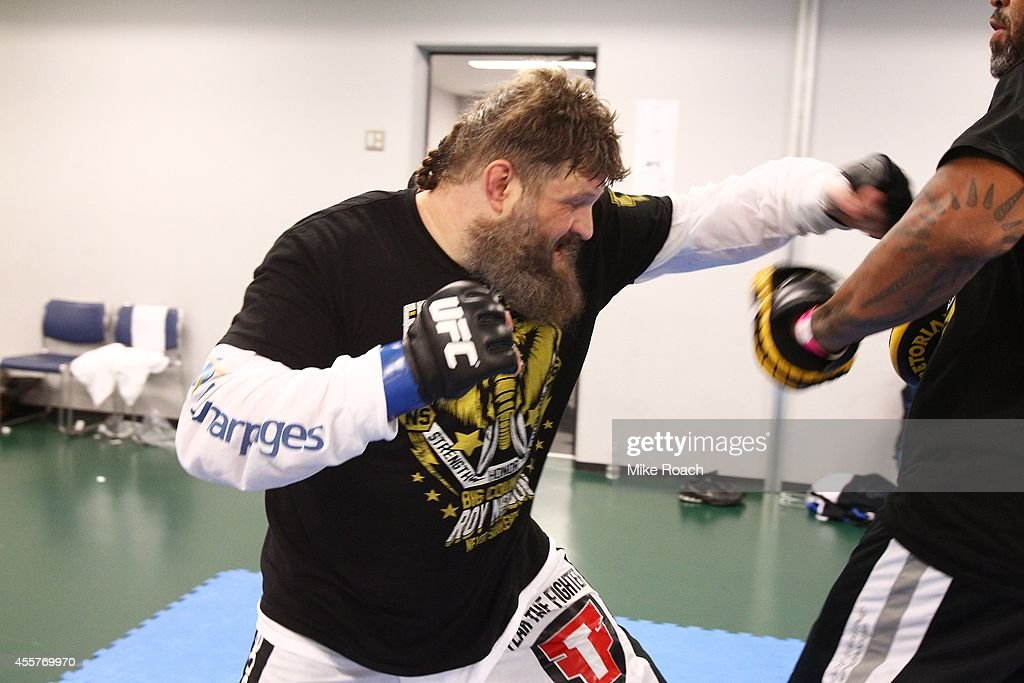 Roy Nelson warms up backstage during the UFC Fight Night event inside the Saitama Arena on September 20, 2014 in Saitama, Japan.