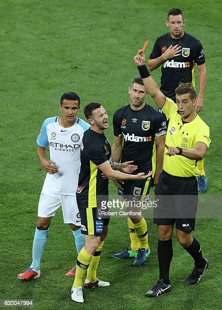 Roy O'Donavan of the Mariners is sent off by referee Daniel Elder during the round 16 ALeague match between Melbourne City FC and the Central Coast...