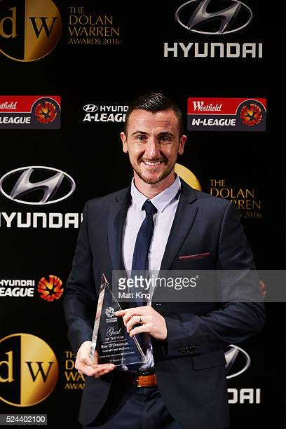 Roy O'Donovan of Central Coast Mariners poses with the Hyundai ALeague Goal of the Year award during the 2016 FFA Dolan Warren Awards at...