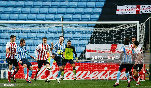 Roy O'Donovan of Coventry City in action during the FA Cup 3rd round match between Coventry City and Southampton at the Ricoh Arena on January 07...
