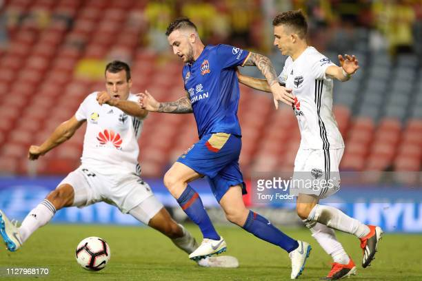 Roy O'Donovan of Newcastle Jets controls the ball during the round 18 ALeague match between the Newcastle Jets and the Wellington Phoenix at McDonald...