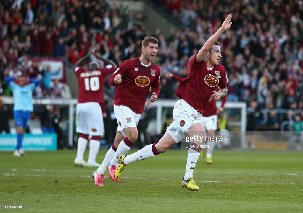 Roy O'Donovan of Northampton Town celebrates scoring during the npower League Two Play Off Semi Final First Leg match between Northampton Town and Cheltenham Town at Sixfields on May 2, 2013 in Northampton, England.