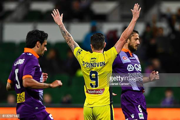 Roy O'Donovan of the Central Coast Mariners celebrates a goal during the round one ALeague match between the Perth Glory and the Central Coast...
