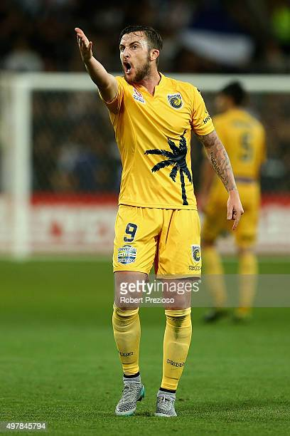 Roy O'Donovan of the Central Coast reacts during the round seven ALeague match between Melbourne Victory and Central Coast Mariners at AAMI Park on...