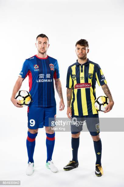 Roy O'Donovan of the Jets and Daniel De Silva of the Mariners pose during the ALeague Media Day on September 26 2017 in Sydney Australia