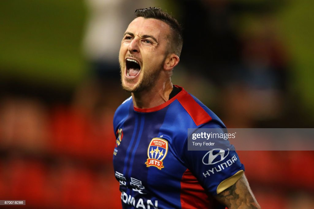 Roy O'Donovan of the Jets celebrates a goal during the round five A-League match between the Newcastle Jets and the Wellington Phoenix at McDonald Jones Stadium on November 4, 2017 in Newcastle, Australia.