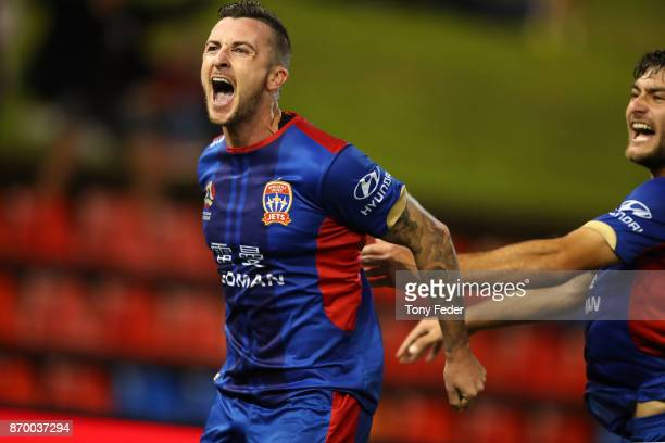 Roy O'Donovan of the Jets celebrates a goal during the round five ALeague match between the Newcastle Jets and the Wellington Phoenix at McDonald...