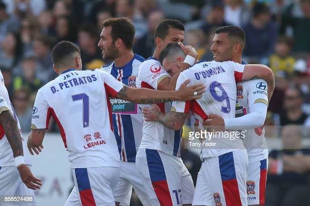 Roy O'Donovan of the Jets celebrates a goal during the round one ALeague match between the Central Coast Mariners and the Newcastle Jets at Central...