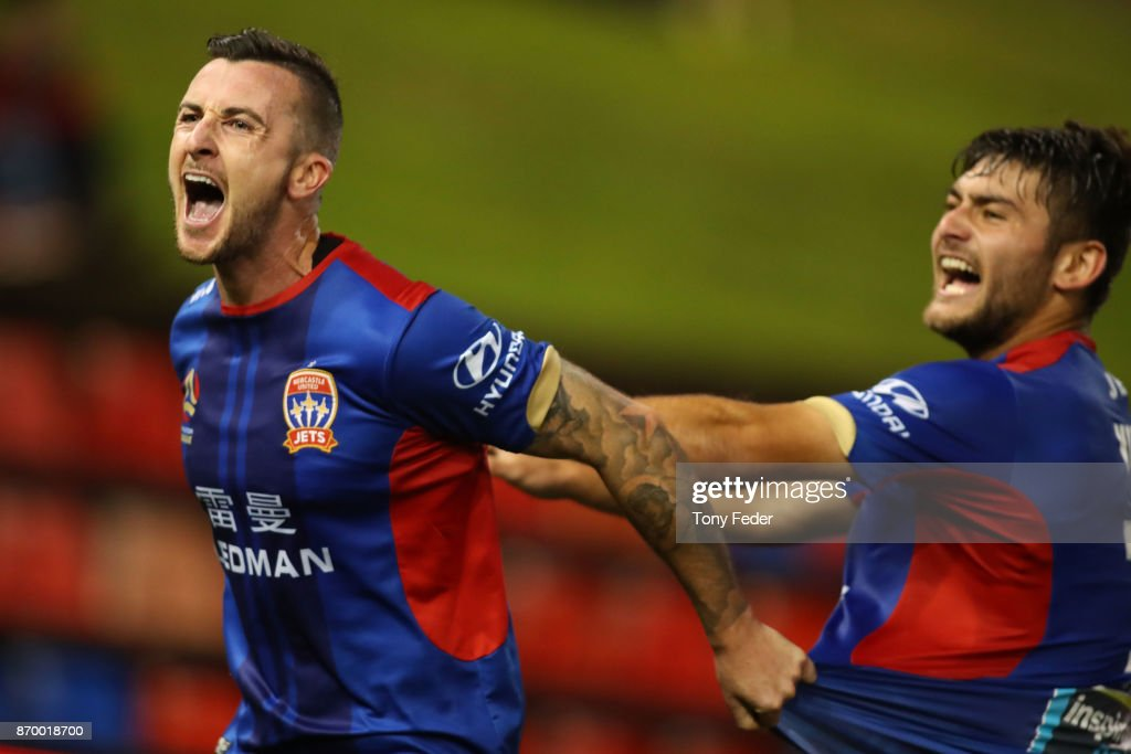 Roy O'Donovan of the Jets celebrates a goal with teammate Ivan Vujica during the round five A-League match between the Newcastle Jets and the Wellington Phoenix at McDonald Jones Stadium on November 4, 2017 in Newcastle, Australia.