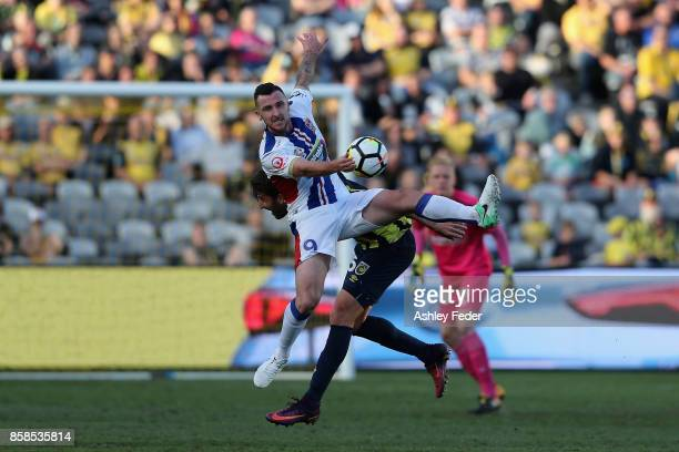 Roy O'Donovan of the Jets in action during the round one ALeague match between the Central Coast Mariners and the Newcastle Jets at Central Coast...