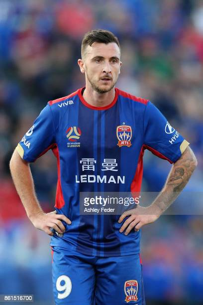 Roy O'Donovan of the Jets looks dejected after the draw during the round two ALeague match between the Newcastle Jets and Perth Glory at McDonald...