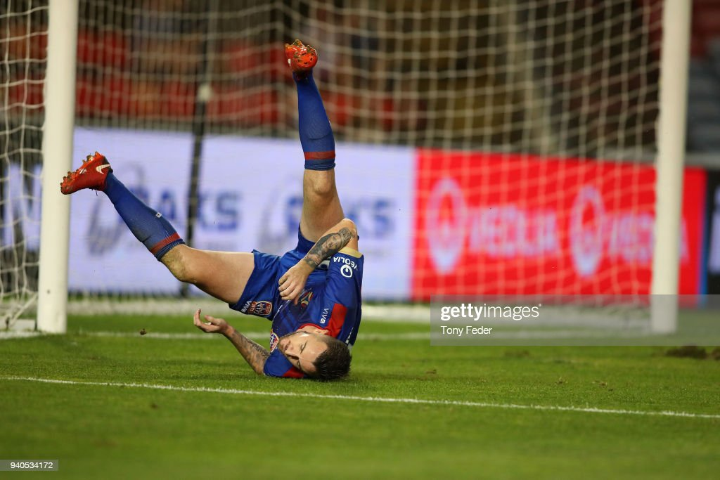 Roy O'Donovan of the Jets rolls over in the goal mouth during the round 25 A-League match between the Newcastle Jets and Melbourne City at McDonald Jones Stadium on April 1, 2018 in Newcastle, Australia.