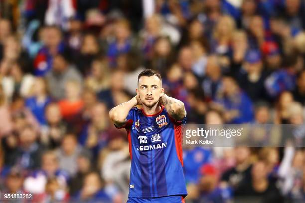 Roy O'Donovan of the Jets shows his frustration after a missed chance during the 2018 ALeague Grand Final match between the Newcastle Jets and the...