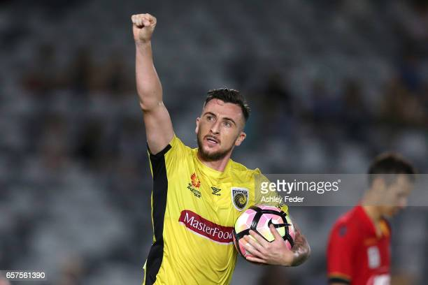 Roy O'Donovan of the Mariners celebrates a goal during the round 24 ALeague match between Central Coast Mariners and Adelaide United at Central Coast...