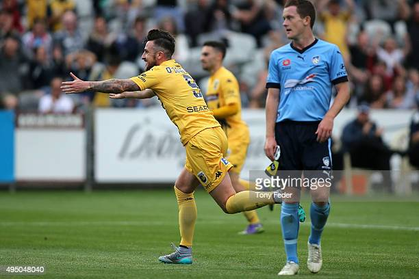 Roy O'Donovan of the Mariners celebrates a goal during the round four ALeague match between the Central Coast Mariners and Sydney FC at Central Coast...