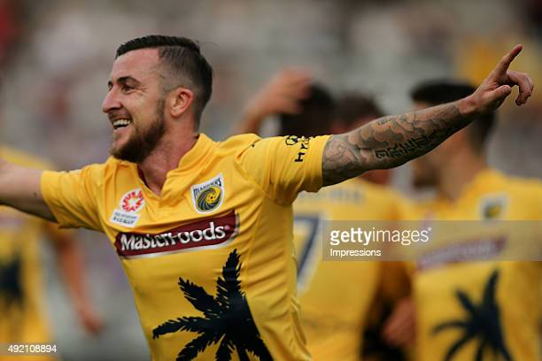 Roy O'Donovan of the Mariners celebrates a goal during the round one ALeague match between the Central Coast Mariners and the Perth Glory at Central...