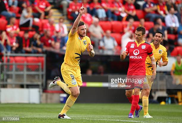 Roy O'Donovan of the Mariners celebrates after scoring the first goal during the round 25 ALeague match between Adelaide United and the Central Coast...