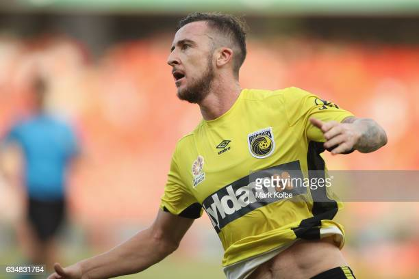 Roy O'Donovan of the Mariners celebrates scoring a goal during the round 19 ALeague match between the Western Sydney Wanderers and the Central Coast...