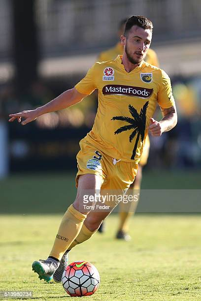 Roy O'Donovan of the Mariners controls the ball during the round 22 ALeague match between the Central Coast Mariners and the Melbourne Victory at...