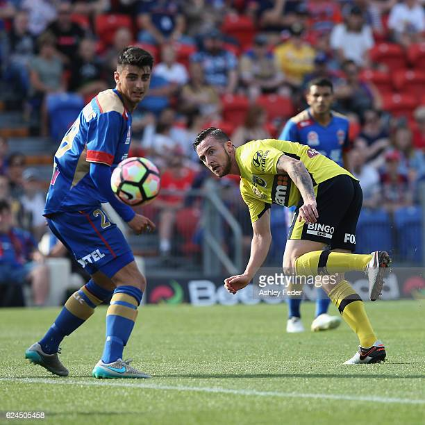 Roy O'Donovan of the Mariners kicks the ball ahead of the Jets defence during the round seven ALeague match between the Newcastle Jets and the...