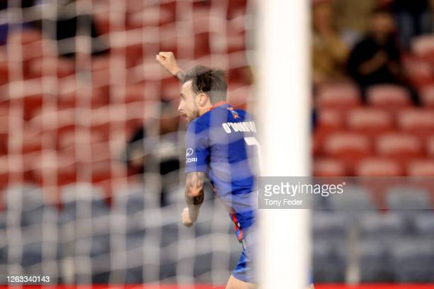 Roy O'Donovan of the Newcastle Jets celebrates a goal during the round 29 ALeague match between the Newcastle Jets and Western United at McDonald...