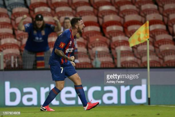 Roy O'Donovan of the Newcastle Jets celebrates his goal during the round 20 ALeague match between the Newcastle Jets and the Melbourne Victory at...