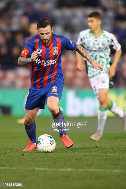 Roy O'Donovan of the Newcastle Jets shoots for goal during the round 29 ALeague match between the Newcastle Jets and Western United at McDonald Jones...