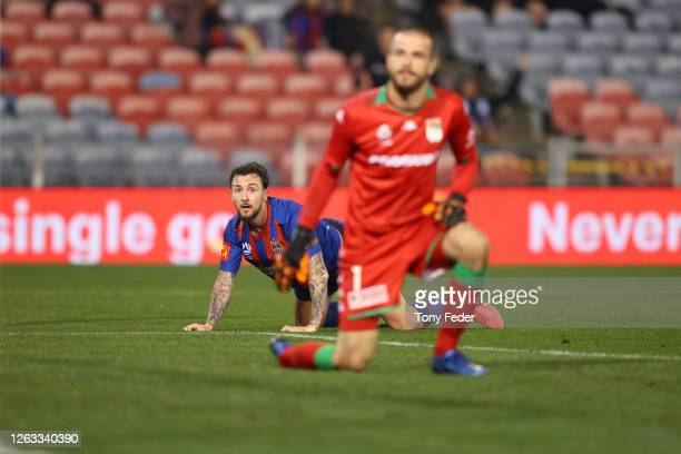 Roy O'Donovan of the Newcastle Jets watches his shot at goal go in during the round 29 ALeague match between the Newcastle Jets and Western United at...
