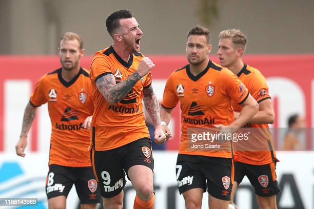 Roy O'Donovan of the Roar celebrates a goal during the round six ALeague match between Brisbane Roar and Melbourne City at Dolphin Stadium on...