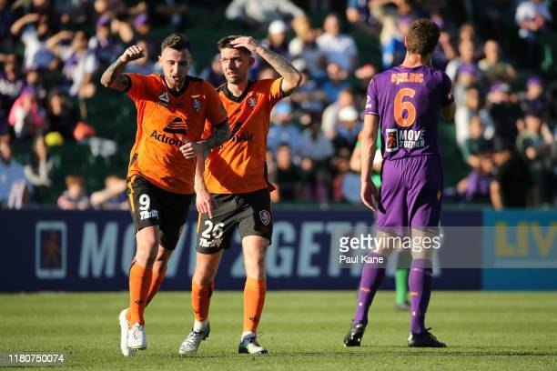 Roy ODonovan of the Roar celebrates kicking the equalising goal during the round one ALeague match between Perth Glory and Brisbane Roar at HBF Park...