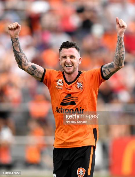 Roy O'Donovan of the Roar celebrates scoring a goal during the round six ALeague match between Brisbane Roar and Melbourne City at Dolphin Stadium on...