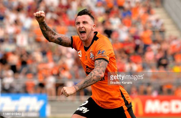 Roy O'Donovan of the Roar celebrates scoring a goal during the round six A-League match between Brisbane Roar and Melbourne City at Dolphin Stadium...
