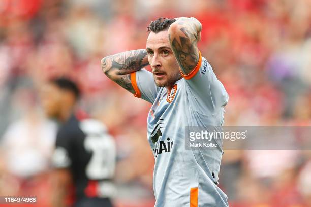 Roy O'Donovan of the Roar reacts after a missed chance during the round four A-League match between the Western Sydney Wanderers and the Brisbane...