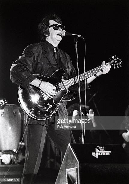 Roy Orbison performs on stage at Ahoy on 2nd November 1987 in Rotterdam, Netherlands.
