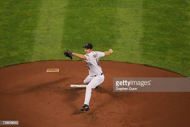 Roy Oswalt of the Houston Astros pitches against the Pittsburgh Pirates during the opening day game on April 2, 2007 at Minute Maid Park in Houston,...