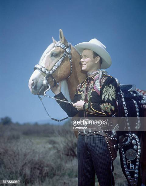 Roy Rogers American singing cowboy and his horse Trigger Undated color slide