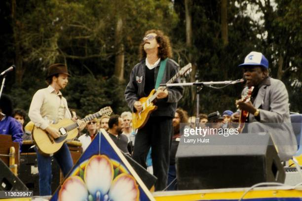 Roy Rogers Carlos Santana and John Lee Hooker performing in Golden Gate park in San Francisco California on June 23 1985